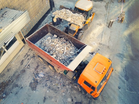 dump truck filled with debris